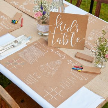 Children's Wedding Activity Place Mat